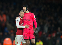 Jack Wilshere of Arsenal and Petr Čech of Arsenal during the Premier League match between Arsenal and Newcastle United at the Emirates Stadium, London, England on 16 December 2017. Photo by Vince  Mignott / PRiME Media Images.