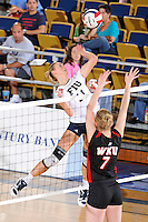 16 October 2010:  FIU right side hitter Ines Medved (11) hits a kill shot in the third set as the Western Kentucky Hilltoppers defeated the FIU Golden Panthers, 3-2 (25-19, 23-25, 25-20, 25-27, 15-13), at the U.S Century Bank Arena in Miami, Florida.