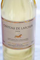 Chateau de Lascaux, Vacquieres village. Pic St Loup. Languedoc. France. Europe. Bottle.