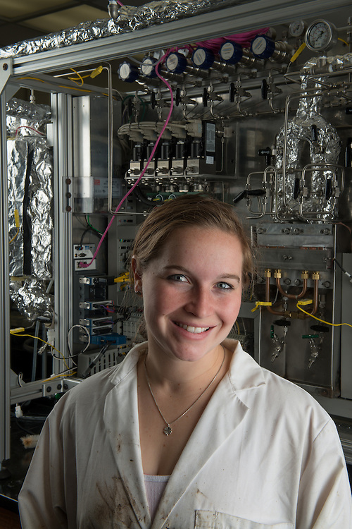 Lauryl Dresch is a chemical engineering major who is studying how to turn wood waste into liquid oil. Photo by Ben Siegel
