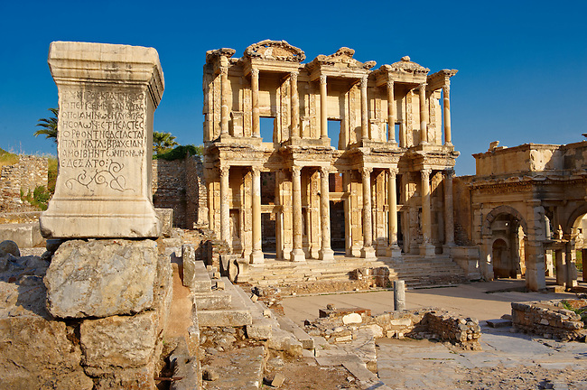 Picture of The library of Celsus. Images of the Roman ruins of Ephasus, Turkey Photos. Stock Picture & Photo art prints