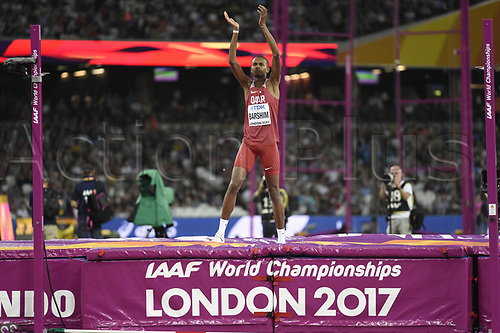 August 12th 2017, London Stadium, East London, England; IAAF World Championships, Day 9;  Qatar's Mutaz Essa Barshim celebrates his victory in the high jump at the IAAF London 2017 World Athletics Championships in London, United Kingdom, 13 August 2017.