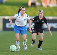 Boston Breakers forward Kelly Schmedes (3) gets possession of the ball against Washington Freedom defender Emily Janss (11).  Boston Breakers defeated The Washington Freedom 3-1 at The Maryland SoccerPlex,  Saturday April 18, 2009.