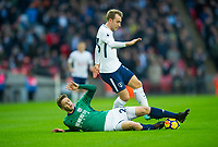 Tottenham's Christian Eriksen and West Bromwich Albion Sam Field during the Premier League match between Tottenham Hotspur and West Bromwich Albion at Wembley Stadium, London, England on 25 November 2017. Photo by Andrew Aleksiejczuk / PRiME Media Images.