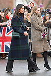 13.02.2018; Edinburgh, Scotland: MEGHAN MARKLE AND PRINCE HARRY VISIT EDINBURGH<br /> on their first official joint visit to Scotland. Prince Harry and Ms. Markle had the opportunity to learn more about organisations that work in the local community and nationwide, and celebrate youth in the Scottish Year of Young People 2018, during their visit.<br /> Meghan sported a long tartan coat for the visit.<br /> They are to be married on 19th May 2018 at Windsor Castle.<br /> Picture shows: Meghan Markle with Amy Pickerill,who has been designated as a helper on royal visit.<br /> Mandatory Photo Credit: &copy;Francis Dias/NEWSPIX INTERNATIONAL<br /> <br /> IMMEDIATE CONFIRMATION OF USAGE REQUIRED:<br /> Newspix International, 31 Chinnery Hill, Bishop's Stortford, ENGLAND CM23 3PS<br /> Tel:+441279 324672  ; Fax: +441279656877<br /> Mobile:  07775681153<br /> e-mail: info@newspixinternational.co.uk<br /> Usage Implies Acceptance of Our Terms &amp; Conditions<br /> Please refer to usage terms. All Fees Payable To Newspix International