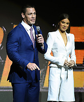 LAS VEGAS, NV - APRIL 25: (L-R) Actors John Cena and Hailee Steinfeld onstage during the Paramount Pictures presentation at CinemaCon 2018 at The Colosseum at Caesars Palace on April 25, 2018 in Las Vegas, Nevada. (Photo by Frank Micelotta/PictureGroup)
