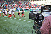 Portland, Oregon - Sunday September 11, 2016: TV Cameras from FOX Sports prior to a regular season National Women's Soccer League (NWSL) match at Providence Park.