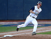Virginia Joe McCarthy (31) rounds first base after hitting a triple against George Washington during the game Wednesday at Davenport Stadium in Charlottesville, VA. Photo/The Daily Progress/Andrew Shurtleff