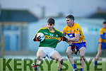 Gavin O'Grady Kerry gets to the ball ahead of Gordon Kelly Clare during the McGrath cup clash at Fitzgerald Stadium on Sunday