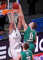 Real Madrid's Guillermo Hernangomez (l) and Union Olimpija Ljubljana's Dino Muric during Euroleague 2012/2013 match.December 13,2012. (ALTERPHOTOS/Acero) /NortePhoto