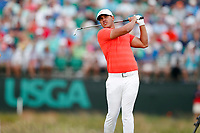 Brooks Koepka (USA) tees off on the 17th hole during the third round of the 118th U.S. Open Championship at Shinnecock Hills Golf Club in Southampton, NY, USA. 16th June 2018.<br /> Picture: Golffile | Brian Spurlock<br /> <br /> <br /> All photo usage must carry mandatory copyright credit (&copy; Golffile | Brian Spurlock)