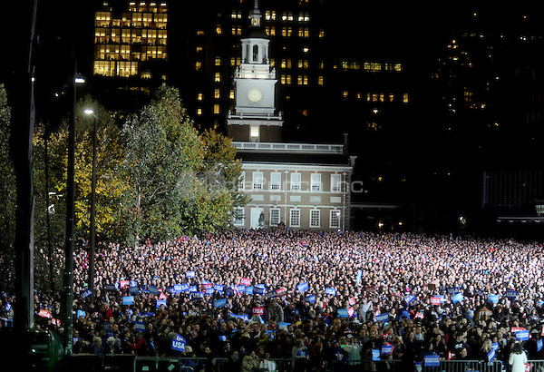 PHILADELPHIA, PA - NOVEMBER 7: Atmosphere at the GOTV Rally in support of Hillary Clinton for President at Independence Mall in Philadelphia, Pennsylvania on November 7, 2016. Credit: Dennis Van Tine/MediaPunch