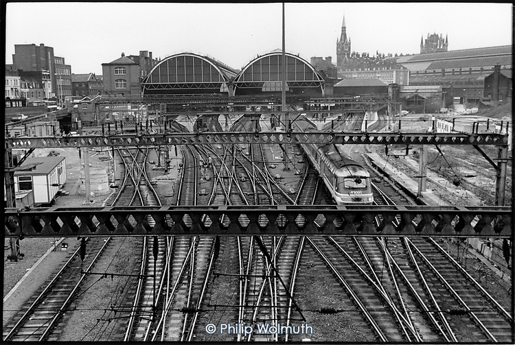 Railway tracks and King's Cross station, London.