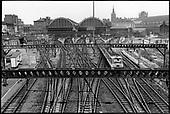 Railway tracks and King's Cross station, London.