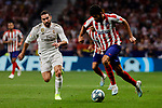 Diego Costa of Atletico de Madrid and Dani Carvajal of Real Madrid during La Liga match between Atletico de Madrid and Real Madrid at Wanda Metropolitano Stadium{ in Madrid, Spain. {iptcmonthname} 28, 2019. (ALTERPHOTOS/A. Perez Meca)