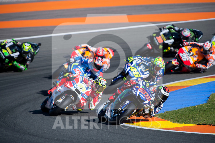 VALENCIA, SPAIN - NOVEMBER 11: Jorge Lorenzo, Andrea Iannone, Valentino Rossi, Maverick Viñales, Dani Pedrosa, Marc Marquez, Bradley Smith, Pol Espargaro during Valencia MotoGP 2016 at Ricardo Tormo Circuit on November 11, 2016 in Valencia, Spain