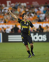 Columbus Crew forward Guillermo Barros Schelotto (7) signals to teammates. The Houston Dynamo tied the Columbus Crew 1-1 in a regular season MLS match at Robertson Stadium in Houston, TX on August 25, 2007.