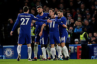 Chelsea players congratulate Eden Hazard (far right) after scoring their opening goal during Chelsea vs West Bromwich Albion, Premier League Football at Stamford Bridge on 12th February 2018