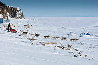 Allen Moore drops onto the Bering Sea as he leaves the Elim checkpoint during 2010 Iditarod