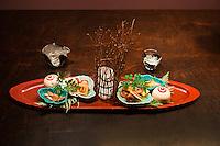 Hoshinoya Karuizawa luxury resort at the foot of Mt. Asam. Food presentation at the restaurant.