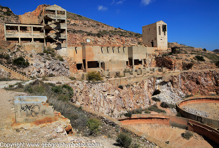 Old gold mine buildings, Rodalquilar, Cabo de Gata natural park, Almeria, Spain