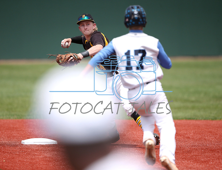 Galena's Parker Kittlisen turns a double play against Centennial's Austin Kryszczuk during NIAA DI baseball action at Bishop Manogue High School in Reno, Nev., on Thursday, May 19, 2016. Galena won 4-2. Cathleen Allison/Las Vegas Review-Journal