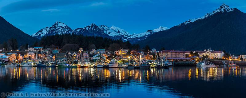 Commercial fishing boats in the Sitka harbor at dusk, Sitka, Alaska.