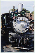 A partial front view of D&amp;RGW #340 at Knott's Berry Farm.<br /> D&amp;RGW  Buena Park, CA  Taken by Dorman, Richard L. - 8/13/2003