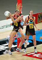 28.06.2010 Magic's Casy Williams in action during the ANZ Champs Semi Final netball match between the Magic and Steel played at Vector Arena in Auckland. ©MBPHOTO/Michael Bradley
