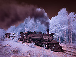 Old 487 Under Way (Infrared) ©2017 James D Peterson.  On New Mexico's Cumbres and Toltec Scenic Railroad, engine 487 carries its passengers through the aspens from Chama to Antonito.