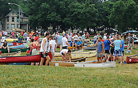 Boaters prepare on a warm, overcast and muggy morning in James Madison Park before 2011 Paddle & Portage on Saturday, July 16, 2011 in Madison, Wisconsin