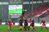 Lewis Carmichael of Edinburgh claims the lineout during the Guinness Pro14 Round 11 match between the Scarlets and Edinburgh Rugby at the Parc Y Scarlets in Llanelli, Wales, UK. Saturday 15 February 2020