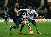 Preston North End's Lukas Nmecha competing with Derby County's Andre Wisdom  <br /> <br /> Photographer Andrew Kearns/CameraSport<br /> <br /> The EFL Sky Bet Championship - Preston North End v Derby County - Friday 1st February 2019 - Deepdale Stadium - Preston<br /> <br /> World Copyright © 2019 CameraSport. All rights reserved. 43 Linden Ave. Countesthorpe. Leicester. England. LE8 5PG - Tel: +44 (0) 116 277 4147 - admin@camerasport.com - www.camerasport.com