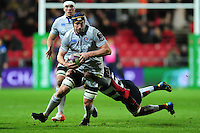 Paul Grant of Bath Rugby takes on the Bristol Rugby defence. European Rugby Challenge Cup match, between Bristol Rugby and Bath Rugby on January 13, 2017 at Ashton Gate Stadium in Bristol, England. Photo by: Patrick Khachfe / Onside Images