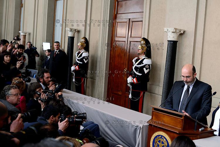 Roma, 21 Marzo 2013.Quirinale.Secondo giorno di  consultazioni con il Presidente della Repubblica per la formazione del nuovo Governo..Il portavoce dei Cinque Stelle per il Senato  Vito Crimi