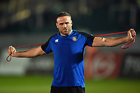 Jamie Roberts of Bath Rugby in action during the pre-match warm-up. Premiership Rugby Cup match, between Bath Rugby and Gloucester Rugby on February 3, 2019 at the Recreation Ground in Bath, England. Photo by: Patrick Khachfe / Onside Images