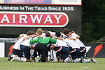 27 June 2008: The United States starters huddle before the game. The United States 2009 Under-17 Men's National Team lost to the Bridge FC U16s 1-3 at McPherson Stadium at Bryan Soccer Park in Brown's Summit, NC as part of the U.S. Soccer Federation Development Academy Summer Showcase which is part of the 2007-2008 regular season.