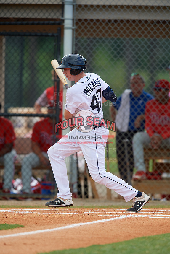 Detroit Tigers Bryant Packard (40) at bat during an Instructional League game against the Philadelphia Phillies on September 19, 2019 at Tigertown in Lakeland, Florida.  (Mike Janes/Four Seam Images)