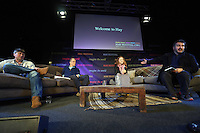 Sunday 25 May 2014, Hay on Wye, UK<br /> Pictured L-R: Simon Armitage, Nick Bagnall, Lily Cole speak to Peter Florence.<br /> Re: The Hay Festival, Hay on Wye, Powys, Wales UK.