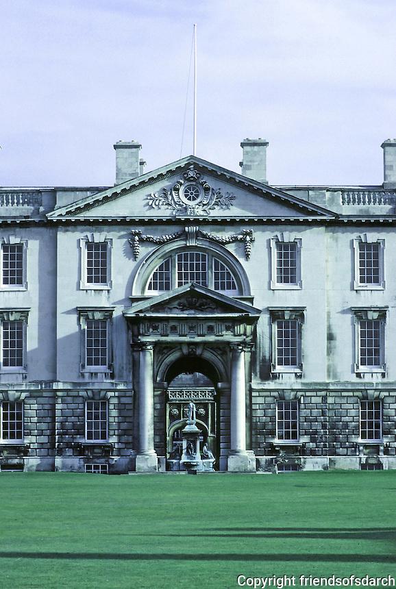 James Gibbs: The Fellows' Building, Cambridge, King's College 1724. Detail of entrance. Photo '82.