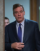"""United States Senator Mark Warner (Democrat of Virginia) arrives for a US Senate Select Committee on Intelligence hearing """"to examine foreign influence operations' use of social media platforms"""" on Capitol Hill in Washington, DC on Wednesday, September 5, 2018.<br /> Credit: Ron Sachs / CNP<br /> (RESTRICTION: NO New York or New Jersey Newspapers or newspapers within a 75 mile radius of New York City)"""