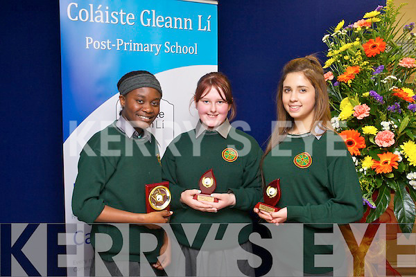 Diligence Award - Carole Adado, Clodagh Quirke and Michelle Hrachovinova at Colaiste Gleann li Post Primary School (Tralee Community College) awards on Thursday