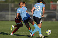 Piscataway, NJ - Saturday July 23, 2016: Shawna Gordon, Caprice Dydasco, Catherine Zimmerman during a regular season National Women's Soccer League (NWSL) match between Sky Blue FC and the Washington Spirit at Yurcak Field.