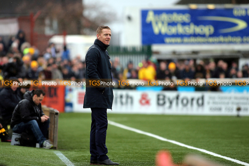 Leeds United Manager, Gary Monk, looks on in disbelief during Sutton United  vs Leeds United, Emirates FA Cup Football at the Borough Sports Ground on 29th January 2017