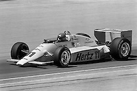 INDIANAPOLIS, IN - MAY 31: Al Unser drives his Penske PC15 001/Chevrolet during practice for the Indianapolis 500 USAC Indy Car race at the Indianapolis Motor Speedway in Indianapolis, Indiana, on May 31, 1986.