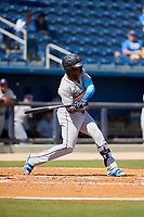Jacksonville Jumbo Shrimp center fielder Monte Harrison (3) at bat during a game against the Biloxi Shuckers on May 6, 2018 at MGM Park in Biloxi, Mississippi.  Biloxi defeated Jacksonville 6-5.  (Mike Janes/Four Seam Images)