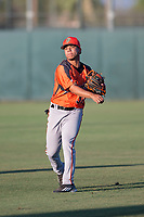 AZL Giants Orange shortstop Anyesber Sivira (32) warms up before an Arizona League game against the AZL Athletics at Lew Wolff Training Complex on June 25, 2018 in Mesa, Arizona. AZL Giants Orange defeated the AZL Athletics 7-5. (Zachary Lucy/Four Seam Images)