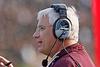 Texas A&M Head Coach Dennis Franchione looks for a weakness in the MU defense during second half action at Memorial Stadium in Columbia, Missouri on November 10, 2007. The Tigers won 40-26.