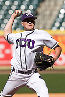 TCU Horned Frog pitcher Kaleb Merck against the Missouri Tigers on Saturday March 6th, 2100 at the Astros College Classic in Houston's Minute Maid Park.  (Photo by Andrew Woolley / Four Seam Images)