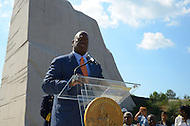 "August 10, 2011 (Washington, DC)  Harry E. Johnson, Sr., president & CEO of the Martin Luther King, Jr. National Memorial Project Foundation, Inc., speaks at a press conference outlining the District of Columbia's involvement in the upcoming dedication of the Martin Luther King Jr. National Memorial in Washington.  The memorial will commemorate the life and work of Dr. Martin Luther King, Jr.  More than 200,000 people are expected to attend week-long events leading up to the dedication on August 28, 2011, including many who attended Dr. King's ""I have a Dream"" Speech.  (Photo: Don Baxter/Media Images International)"